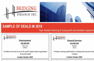 Bridging Finance Inc. Announces A Sample Of Deals Made In 2019